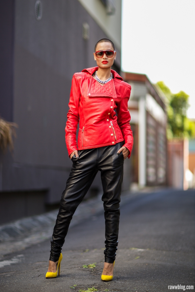 Micah Gianneli - raww blog - Balmain - Amber Sceats - Leather bo