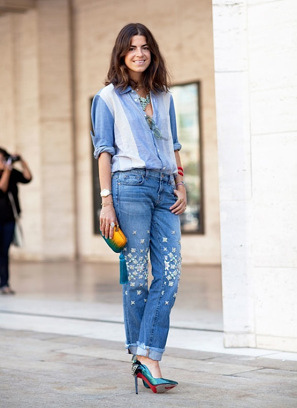 STREET-STYLE-FASHION-WEEK-BLOGGER-STYLE-LEANDRA-MEDINE-MAN-REPELLER-DENIM-ON-DENIM-CANADIAN-TUXEDO-CHAMBRAY-SHIRT-PATCHWORK-RHINESTONE-STUDDED-JEANS-CUFFED-ROLLED-ANKLE-LOUBOUTIN-HEELS-PUMPS