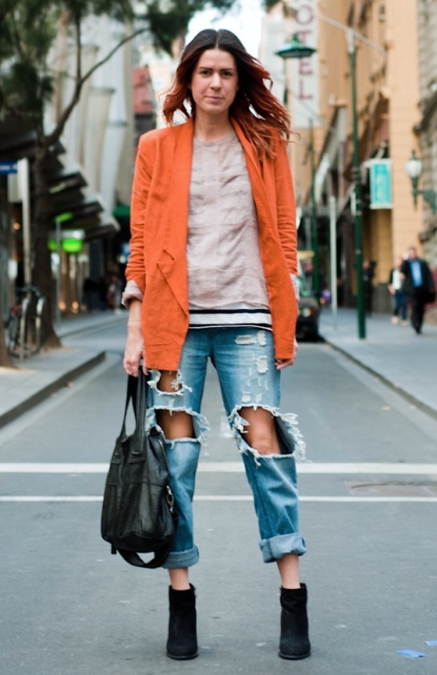 THROUGH-THE-LOOKNG-GLASS-BLOG-STREET-STYLE-DISTRESSED-DENIM-AUSTRALIA-SHRED-SHREDDED-TORN-RIPPED-GIVENCHY-NIGHTINGALE-BAG-ORANGE-BLAZER-LAYERS-STRIPES-11