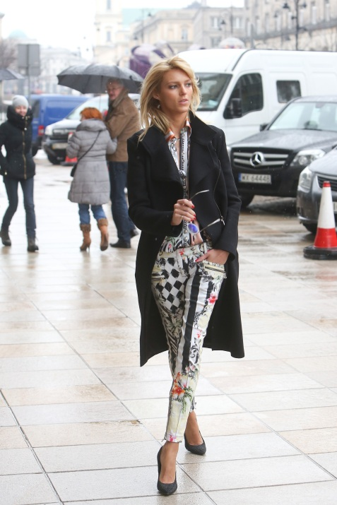 Anja Rubik is seen arriving at her hotel in Warsaw