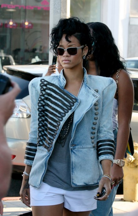 Rihanna-in-Balmain-Denim-Military-Jacket-JT-1