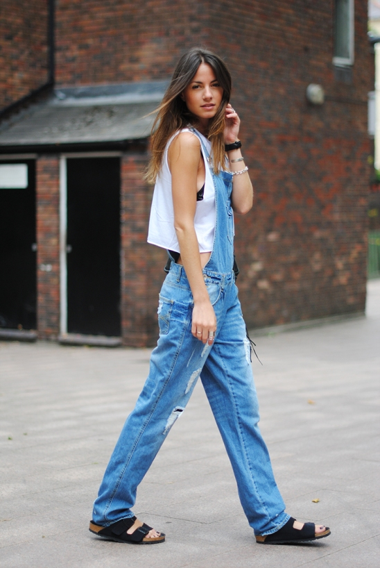 overall, denim, jeans, 90s, trend, london, celine inspiration, sandals, birkenstock