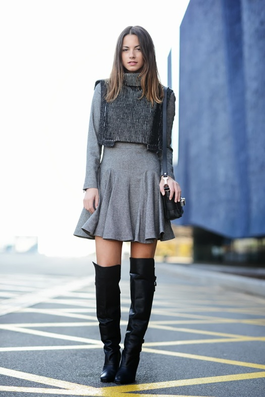 knee boots, zina charkoplia, fashionvibe, & other stories grey dress
