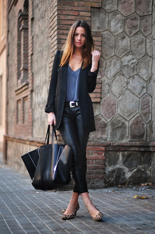 celine bag, zina charkoplia, leopard heels, isabel marant leather pants, blazer, casual