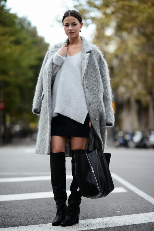 grey coat, celine bag, black, skirt, over the knee boots