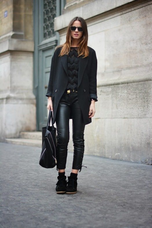 isabel marant sneakers, zina charkoplia, leather pants, blazer, paris, december