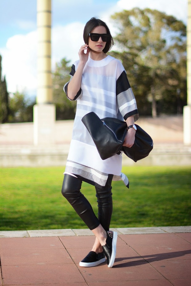 celine dress, sandro pumps, celine bag, & other stories leather pants, zina charkoplia, fashionvibe